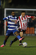 Kynan Isaac and Karnell Chambers during the FA Trophy match between Oxford City and Cheltenham Town at Court Place Farm, Oxford, United Kingdom on 16 January 2016. Photo by Antony Thompson.
