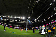 a general view as the Uruguay team warm up behind the pitch side ITV sport presenting team. Rugby World Cup 2015 pool A match, Wales v Uruguay at the Millennium Stadium in Cardiff, South Wales  on Sunday 20th September 2015.<br /> pic by  Andrew Orchard, Andrew Orchard sports photography.