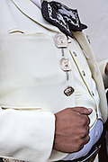 Decorative silver buttons of a Mexican mariachi dressed in traditional charro costume November 5, 2013 in Oaxaca, Mexico.