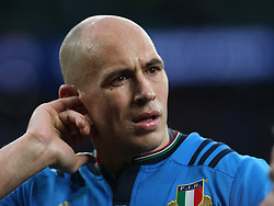 26 February 2017 : 6 Nations Rugby : England v Italy :<br /> Italian captain Sergio Parisse attends to his cut ear.<br /> Photo: Mark Leech