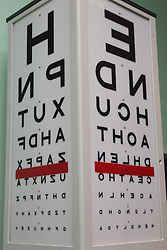 Snellen chart in consulting room in eye clinic at QMC hospital, Nottingham.
