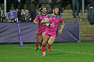 Gloucester wing David Halaifonua (11) on his way to score a try second half 30-9 during the European Rugby Challenge Cup match between Gloucester Rugby and SU Agen at the Kingsholm Stadium, Gloucester, United Kingdom on 19 October 2017. Photo by Gary Learmonth.