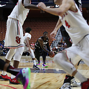 Duane Notice, (center), South Carolina, in action during the St. John's vs South Carolina Men's College Basketball game in the Hall of Fame Shootout Tournament at Mohegan Sun Arena, Uncasville, Connecticut, USA. 22nd December 2015. Photo Tim Clayton