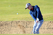 Rory Milne (Faithlegg) in a bunker on the 1st during Round 2 of the Ulster Boys Championship at Donegal Golf Club, Murvagh, Donegal, Co Donegal on Thursday 25th April 2019.<br /> Picture:  Thos Caffrey / www.golffile.ie