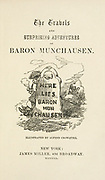 The travtitle page from ls and surprising adventures of Baron Munchausen; with illustrations by Alfred Henry Forrester [Alfred Crowquill] Published in New York, James Miller in 1860