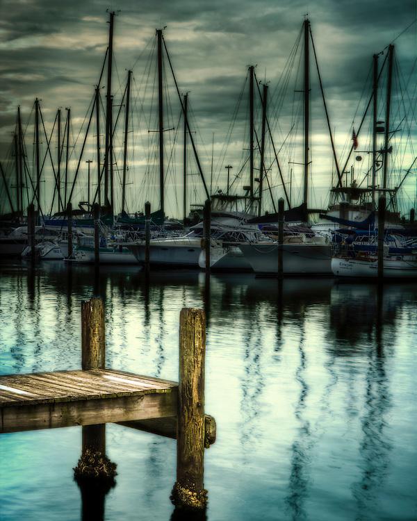 boat dock in storn in florida