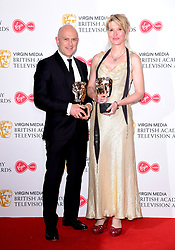 Phil Clarke and Julia Davis in the press room with their award for Best Scripted Comedy Award at the Virgin Media BAFTA TV awards, held at the Royal Festival Hall in London.