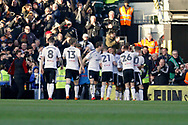 Fulham players celebrate a goal from Fulham defender Ryan Sessegnon (3) (score 1-0) during the EFL Sky Bet Championship match between Fulham and Aston Villa at Craven Cottage, London, England on 17 February 2018. Picture by Andy Walter.