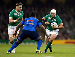 Rory Best of Ireland takes on the France defence - Mandatory byline: Patrick Khachfe/JMP - 07966 386802 - 11/10/2015 - RUGBY UNION - Millennium Stadium - Cardiff, Wales - France v Ireland - Rugby World Cup 2015 Pool D.