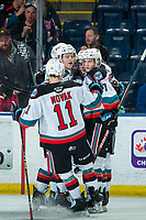 KELOWNA, BC - FEBRUARY 12: Jonas Peterek #27, Pavel Novak #11, Conner McDonald #7, Matthew Wedman #20 and Kyle Topping #24 of the Kelowna Rockets celebrate a goal against the Tri-City Americans at Prospera Place on February 8, 2020 in Kelowna, Canada. Wedman was selected in the 2019 NHL entry draft by the Florida Panthers. (Photo by Marissa Baecker/Shoot the Breeze)