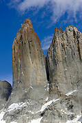 The granite spires of the Torres del Paine from the west  looking across the Torres Glacier from the Mirador Las Torres.  Torre Central is on the left and Torre Nord is on the right. . Torres del Paine National Park, Republic of Chile 18Feb13