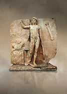Roman Sebasteion relief  sculpture of Ares, Aphrodisias Museum, Aphrodisias, Turkey.  Against an art background.<br /> <br /> The nude and classically7 styled young god wears only a helmet and holds a spear (missing) in one hand and a shield in the other. At the left stands cuirass, and at the upper right corner hangs his sword. Ares was a god of war and was not later defaced by Christians probably because he so closely resembles a young emperor. .<br /> <br /> If you prefer to buy from our ALAMY STOCK LIBRARY page at https://www.alamy.com/portfolio/paul-williams-funkystock/greco-roman-sculptures.html . Type -    Aphrodisias     - into LOWER SEARCH WITHIN GALLERY box - Refine search by adding a subject, place, background colour, museum etc.<br /> <br /> Visit our ROMAN WORLD PHOTO COLLECTIONS for more photos to download or buy as wall art prints https://funkystock.photoshelter.com/gallery-collection/The-Romans-Art-Artefacts-Antiquities-Historic-Sites-Pictures-Images/C0000r2uLJJo9_s0