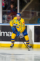 KELOWNA, BC - DECEMBER 18: Lucas Elvenes #23 of Team Sweden looks to pass the puck against the Team Russia  at Prospera Place on December 18, 2018 in Kelowna, Canada. (Photo by Marissa Baecker/Getty Images)***Local Caption***