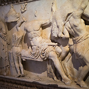 Sarcophagus tub with depiction of the myth of Phaedra-Hyppolite, made of marble, from Tessalonica (Selanik) and dating to the Roman period around the first half of the 2nd century AD on display in the main building of the Istanbul Archaeology Museums. The Istanbul Archaeology Museums, housed in three buildings in what was originally the gardens of the Topkapi Palace in Istanbul, Turkey, holds over 1 million artifacts relating to Islamic art, historical archeology of the Middle East and Europe (as well as Turkey), and a building devoted to the ancient orient.