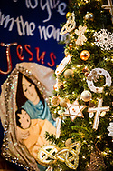 The Christmas tree with a banner depicting Jesus Christ as an infant and his mother Mary on Wednesday, Dec. 16, 2020, at Immanuel Lutheran Church, Festus, Mo. LCMS Communications/Erik M. Lunsford