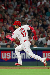 May 18, 2018 - Anaheim, CA, U.S. - ANAHEIM, CA - MAY 18: Shohei Ohtani (17) of the Angels hustles over to third base during the major league baseball game between the Tampa Bay Rays and the Los Angeles Angels on May 18, 2018 at Angel Stadium of Anaheim in Anaheim, California. (Photo by Cliff Welch/Icon Sportswire) (Credit Image: © Cliff Welch/Icon SMI via ZUMA Press)