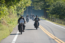 Clint Funderburg (L) and Rich Rau, both of Oregon riding their 1916 Indians during the Clint Funderburg of Oregon leads the pack through the backroads on his 1916 Indian during the Motorcycle Cannonball Race of the Century. Stage-3 from Morgantown, WV to Chillicothe, OH. USA. Monday September 12, 2016. Photography ©2016 Michael Lichter.