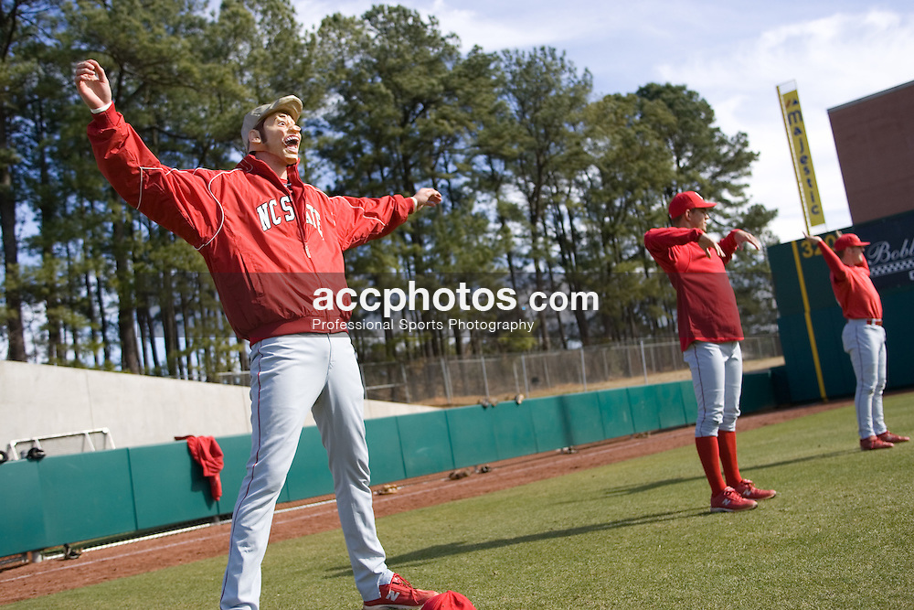 04 February 2007: North Carolina State Wolfpack RHP Andrew Brackman (40) warms-up before a practice while wearing a mask he found at a flea market and snuck on the field at Doak Field in Raleigh, NC.