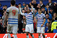 Leroy Fer of Queens Park Rangers celebrates after scoring his teams second goal to make it 2-1. Barclays Premier league match, Queens Park Rangers v Leicester city at Loftus Road in London on Saturday 29th November 2014.<br /> pic by John Patrick Fletcher, Andrew Orchard sports photography.