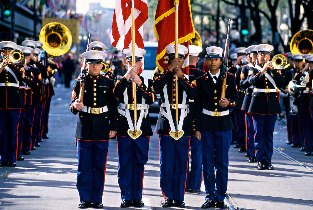 U. S. Marine Corps Marching Band, Zulu Parade, Mardi Gras, St. Charles Avenue, New Orleans, Louisiana USA