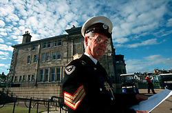 UK SCOTLAND ST ANDREWS 1-2JUN04 -  A uniformed commissionaire guards the entrance to the clubhouse. The Royal and Ancient Golf Club of St. Andrews, Fife, Scotland is celebrating its 250th anniversary this year and is the governing authority for the rules of the game in more than 100 affiliated nations and is responsible for the Open Championship and key amateur and international events. The R & A is also dedicated to the development of golf world-wide and is a leader in environmental and ecological research.......jre/Photo by Jiri Rezac....© Jiri Rezac 2004....Contact: +44 (0) 7050 110 417..Mobile:  +44 (0) 7801 337 683..Office:  +44 (0) 20 8968 9635....Email:   jiri@jirirezac.com..Web:     www.jirirezac.com....© All images Jiri Rezac 2004 - All rights reserved...
