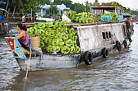 Cai Rang Floating Market is one of the three biggest in the Mekong Delta. The shops and stalls at these markets happen to be boats.  Cai Rang is open all day but it is busiest from dawn to about 9 am. The main items sold there are fresh produce from Cai Rang and neighboring areas. Larger boats anchor and create lanes that smaller boats weave in and out of. The waterway becomes a maze of boats packed with mangos, bananas, papayas and pineapples.