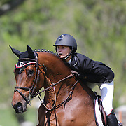 Georgina Bloomberg riding Washington Square in action during the $100,000 Empire State Grand Prix presented by the Kincade Group during the Old Salem Farm Spring Horse Show, North Salem, New York,  USA. 17th May 2015. Photo Tim Clayton