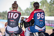 #110 (SMULDERS Laura) NED and #96 (WALKER Sarah) NZL at Round 1 of the 2020 UCI BMX Supercross World Cup in Shepparton, Australia