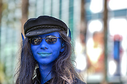 March 29, 2019 - Anaheim, California, U.S. - Jon Worstein dons blue paint as Nightcrawler from X-Men during WonderCon in Anaheim, CA, on Friday, March 29, 2019. (Credit Image: © Jeff Gritchen/SCNG via ZUMA Wire)