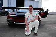 Michael Hogan of Glamorgan poses for a photo.Glamorgan CC media day and photocall at Aston Martin, St Athan, near Cardiff , South Wales on Thursday 6th April 2017.<br /> pic by Andrew Orchard, Andrew Orchard sports photography.