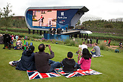 London 2012 Olympic Park in Stratford, East London. The Park Live, a big tv screen in a large landscaped area, the place where fans can come to waych events.