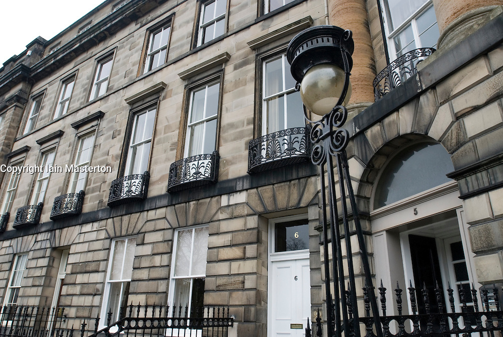 Historic Georgian stone buildings in the New Town district of Edinburgh in Scotland