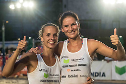 Ana Skarlovnik of team Ana in Jelena and Jelena Pesic of team Ana in Jelena after winning Qlandia Beach Challenge 2015 and Beach Volleyball Slovenian National Championship 2015, on July 25, 2015 in Kranj, Slovenia. Photo by Ziga Zupan / Sportida