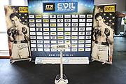 BOXEN: ECB Boxgala, Waage, Hamburg, 12.03.2021<br /> Feature, Sponsoren, Sponsorenwand<br /> © Torsten Helmke