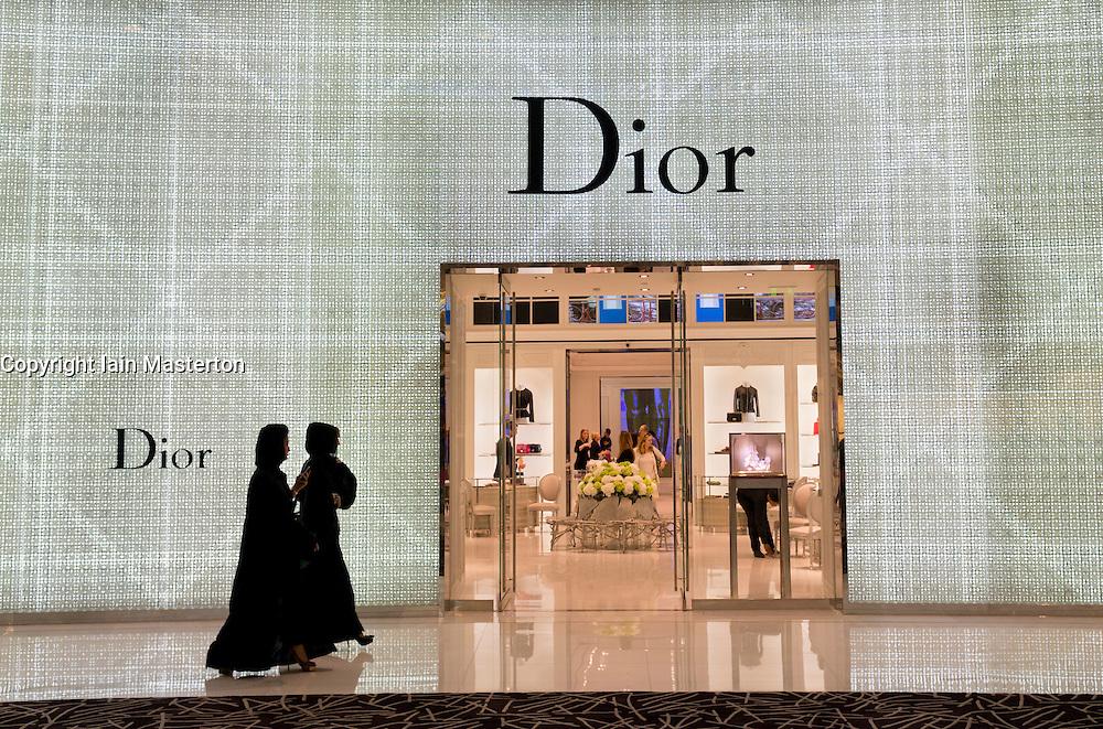 Dior store in Dubai Mall in Dubai in United Arab Emirates