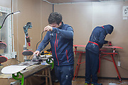 Team GB wax technicians, BJ Mazzola and Jack Shackleton, prepare the squads snowboards ahead of this weeks snowboard slopestyle practice run on 05th February at Phoenix Snow Park in South Korea.