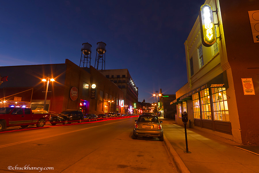 Lake Street at dusk in the Canal Park area of Duluth, Minnesota, USA