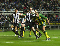 Photo. Glyn Thomas.<br /> Newcastle v West Bromwich Albion.<br /> Carling Cup Third Round.<br /> St James' Park, Newcastle. 29/10/03.<br /> Rob Hulse (R) heads West Brom into a 1-0 lead from a corner in the first half away to Newcastle.