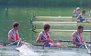 Lucerne, Switzerland. 1995 FISA WC III, Lake Rotsee, Lucerne,<br /> GBR M4-. Bow, Rupert OBHOLZER, Jonny SEARLE, Greg SEARLE.<br /> [Mandatory Credit. Peter SPURRIER/Intersport Images]<br /> <br /> Image scanned from Colour Negative