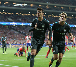 September 27, 2017 - Madrid, Spain - Alvaro Morata of Chelsea celebrates with Marcos Alonso of Chelsea after he scores his sides first goal during the UEFA Champions League group C match between Atletico Madrid and Chelsea FC at Estadio Wanda Metropolitano on September 27, 2017 in Madrid, Spain. (Credit Image: © Ahmad Mora/NurPhoto via ZUMA Press)