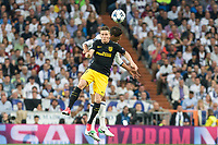 Kevin Gameiro of Atletico de Madrid battles for an aerial ball with Raphael Varane of Real Madrid  during the match of Champions League between Real Madrid and Atletico de Madrid at Santiago Bernabeu Stadium  in Madrid, Spain. May 02, 2017. (ALTERPHOTOS/Rodrigo Jimenez)