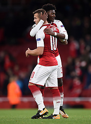 Arsenal's Jack Wilshere and  Ainsley Maitland-Niles (right) after the final whistle