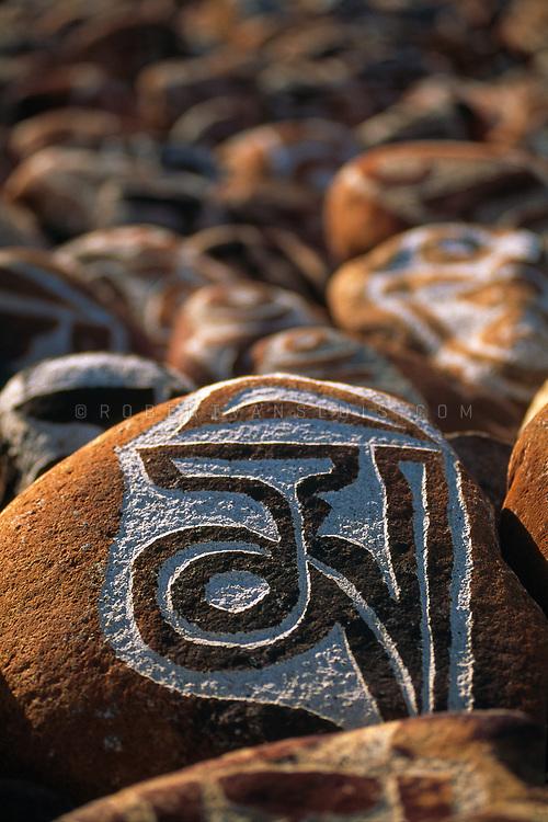 Prayer stones, Lake Manasarovar, Tibet, China. Photo © robertvansluis.com