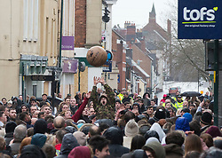 © Licensed to London News Pictures. 28/02/2017. Atherstone, UK.  Competitors fight over the ball during the Atherstone Ball Game on Shrove Tuesday, a tradition that dates from the 12th century, in which the locals fight over a ball up and down the streets town in Warwickshire. Photo credit: ISABEL INFANTES / LNP