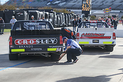 November 1, 2018 - Fort Worth, TX, U.S. - FORT WORTH, TX - NOVEMBER 01: Crew members take tire readings on pit road during practice for the NASCAR Camping World Truck Series JAG Metals 350 on November 1, 2018 at Texas Motor Speedway in Fort Worth, TX. (Photo by George Walker/Icon Sportswire) (Credit Image: © George Walker/Icon SMI via ZUMA Press)