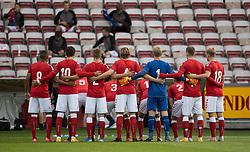 Corona-reguleret holdfoto under U21 EM2021 Kvalifikationskampen mellem Danmark og Ukraine den 4. september 2020 på Aalborg Stadion (Foto: Claus Birch).