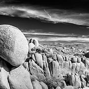 Balancing Rock - Joshua Tree National Park CA - Infrared Black & White