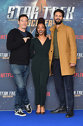 (left to right) Jason Isaacs, Sonequa Martin-Green and Shazad Latif attending a Star Trek: Discovery fan screening at Millbank Tower in London.