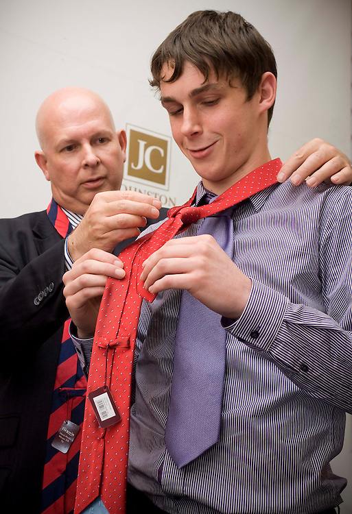 JOHNSTON AND CARMICHAEL SATORIAL INSTRUCTION FOR THEIR PLACEMENT STUDENTS, BY T.M. LEWIN STAFF....PIC OF CLIFF BURGESS FROM T.M. LEWIN, GIVING INSTRUCTION TO PLACEMENT STUDENT GRANT CAMPBELL FROM RGU, AT JC ACCOUNTANTS...IMAGE SUPPLIED BY JOHNSTON AND CARMICHAEL ACCOUNTANTS..FOR MORE INFORMATION CONTACT:.SARAH ROBERTSON .sarah.robertson@jcca.co.uk.T:  +44(0)1224 212222...PIC BY LEX BALLANTYNE / NEWSLINE SCOTLAND