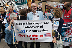 London, UK. 5th July, 2021. Former Labour Party leader Jeremy Corbyn joins health workers and supporters at a rally organised by Doctors in Unite outside the Department of Health and Social Care. The rally was organised to mark the 73rd birthday of the National Health Service and in protest against the sale of one of the UK's biggest GP practice operators to the US health insurance group Centene Corporation.